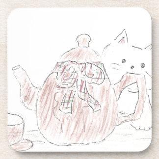 Gatito de la caldera de té posavasos de bebidas