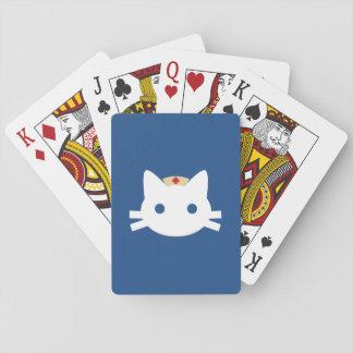 Gatito de la enfermera barajas de cartas