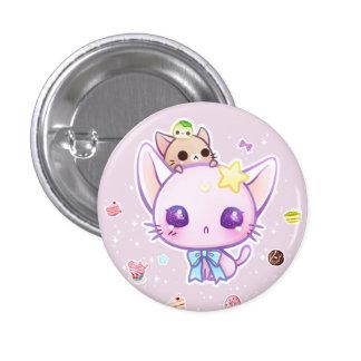 Gatito de la estrella de Kawaii con las tortas Pin Redondo De 1 Pulgada