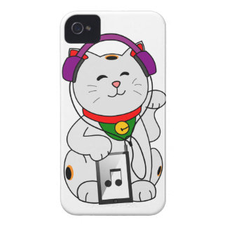 gatito de la fortuna de la música iPhone 4 carcasa