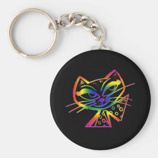 Gatito de la metida de pata del arco iris llavero redondo tipo pin