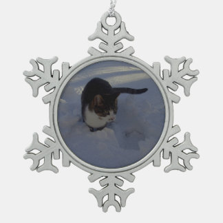 Gatito de la nieve adorno de peltre en forma de copo de nieve