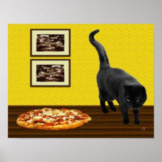 Gatito de la pizza impresiones