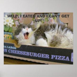 Gatito de la sobredosis de la pizza del póster