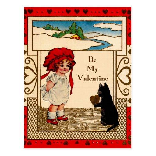Gatito de la tarjeta del día de San Valentín Postal