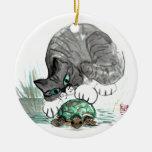 Gatito de la tortuga y del tigre ornamentos de reyes magos