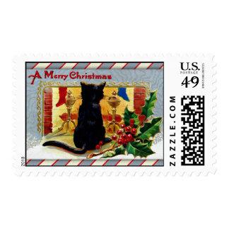 Gatito de las Felices Navidad Sello Postal