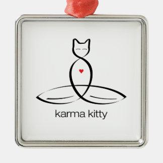 Gatito de las karmas - texto regular del estilo adorno navideño cuadrado de metal