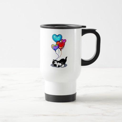 Gatito de los corazones de la tarjeta del día de S Taza De Café
