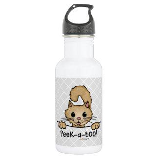 Gatito de los mascotas del peekaboo (diversión, botella de agua