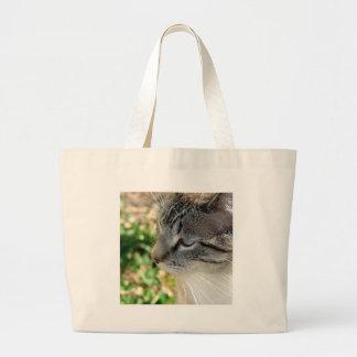 Gatito de los ojos azules bolsa tela grande