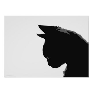 Gatito de Mitzi Poster blanco y negro del gato