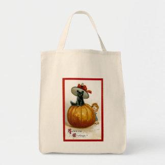Gatito de moda de Halloween Bolsas Lienzo