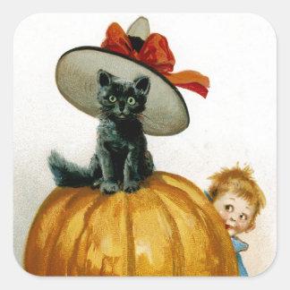 Gatito de moda de Halloween Pegatina Cuadrada