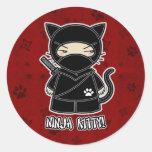¡Gatito de Ninja! En pegatina rojo