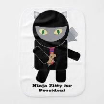 Gatito de Ninja para el presidente Paños Para Bebé