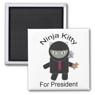 Gatito de Ninja para presidente Magnet Imán Cuadrado