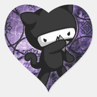 Gatito de Ninja Pegatina De Corazón Personalizadas