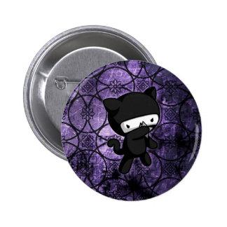 Gatito de Ninja Pin Redondo De 2 Pulgadas