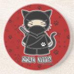 ¡Gatito de Ninja! Práctico de costa del rojo de Ni Posavaso Para Bebida