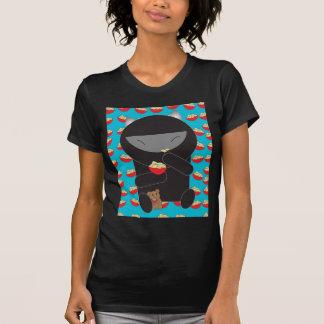 Gatito de Ninja que come los tallarines Playeras