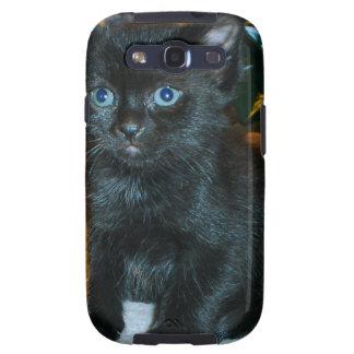 Gatito de ojos azules del negro del bebé galaxy SIII carcasa