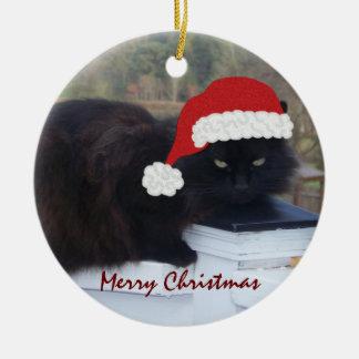 Gatito de Santa: Ornamento del navidad Adorno Navideño Redondo De Cerámica