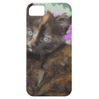 Gatito de Tortoisshell en Gree y flores púrpuras iPhone 5 Case-Mate Funda
