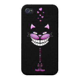Gatito del amor. Gato sonriente rosado lindo de Ch iPhone 4 Cárcasas