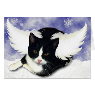 Gatito del ángel de la nieve tarjeta de felicitación