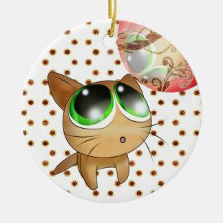 Gatito del animado adorno navideño redondo de cerámica