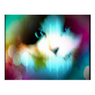 gatito del arco iris de la raqueta postal