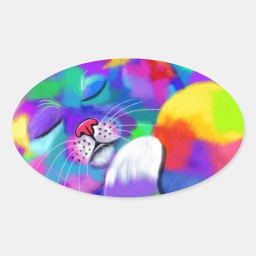 Gatito del arco iris pegatina ovalada