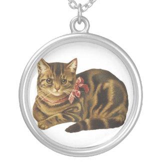 gatito del arte del vintage colgante redondo