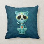 Gatito del azúcar del zombi, azul almohada