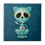 Gatito del azúcar del zombi, azul azulejos ceramicos