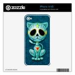 Gatito del azúcar del zombi, azul iPhone 4 skin