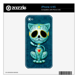 Gatito del azúcar del zombi, azul skin para el iPhone 4