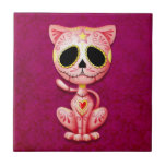 Gatito del azúcar del zombi, rosado azulejo cuadrado pequeño