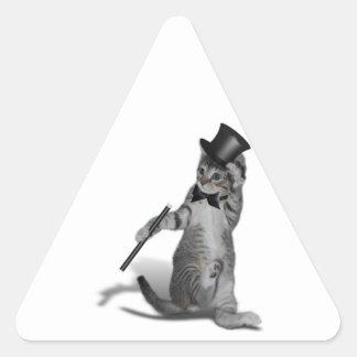 Gatito del baile de golpecito pegatinas trianguladas personalizadas
