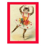 Gatito del baile del vintage postales