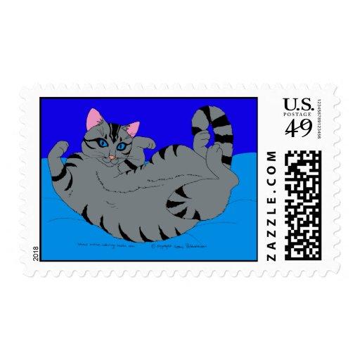 Gatito del balanceo en azul sello