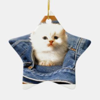 Gatito del bolsillo adorno navideño de cerámica en forma de estrella