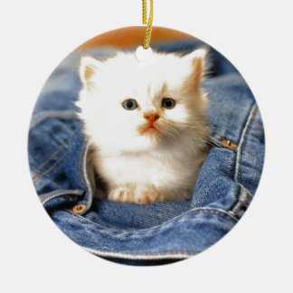Gatito del bolsillo adorno navideño redondo de cerámica