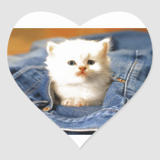 Gatito del bolsillo pegatina en forma de corazón