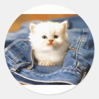 Gatito del bolsillo pegatina redonda
