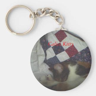 Gatito del calicó llavero redondo tipo pin