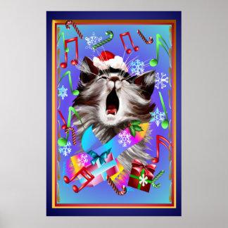 Gatito del canto del villancico del navidad póster