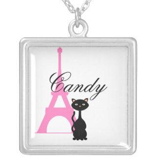 Gatito del caramelo en París Colgante Cuadrado