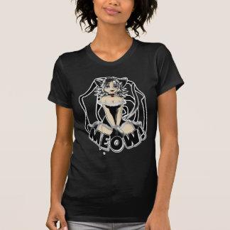 Gatito del chica del maullido blanco y negro camiseta